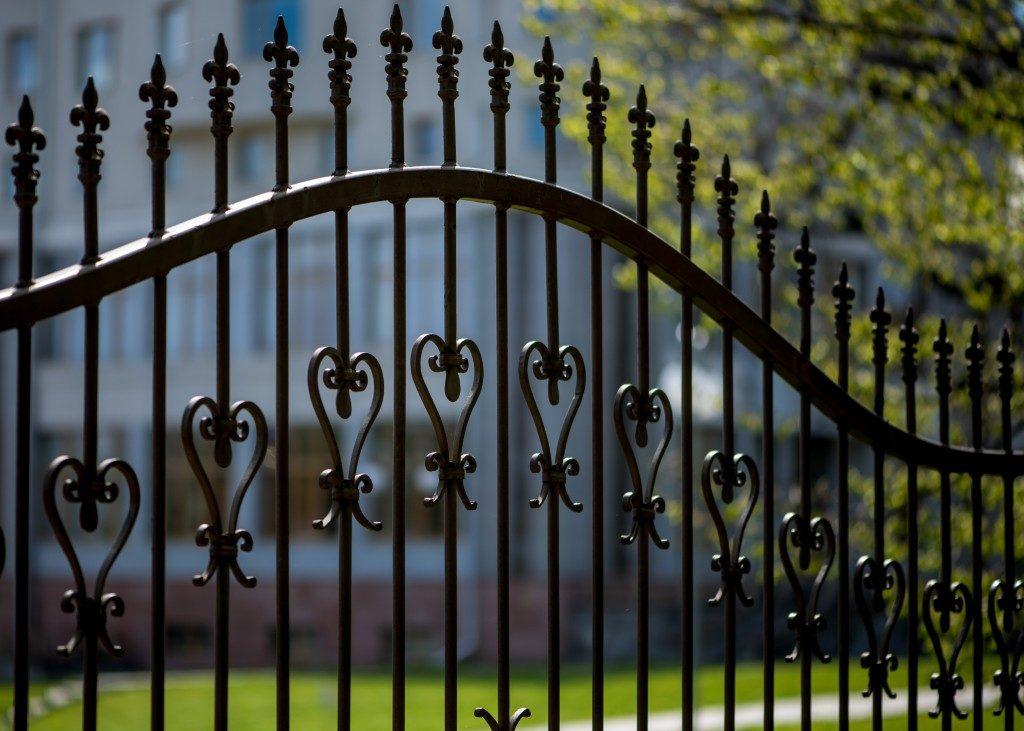 Black steel fence closeup