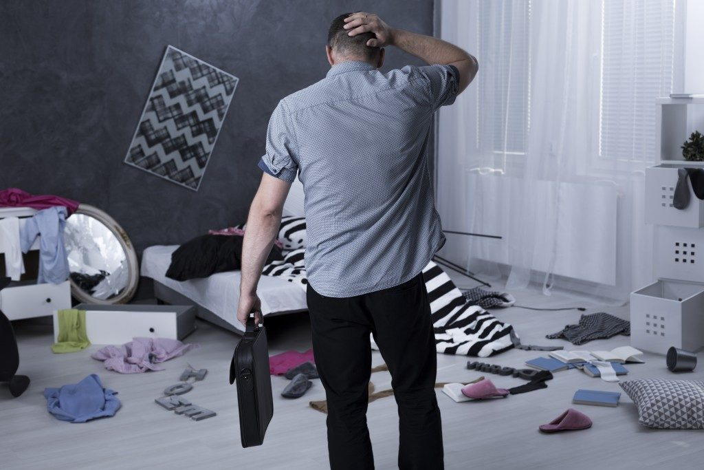 Man's apartment after burglary