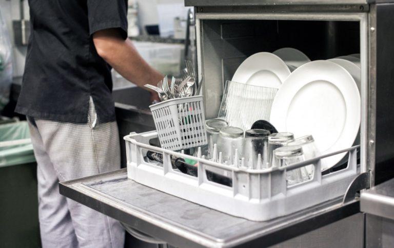Open dishwasher in the kitchen