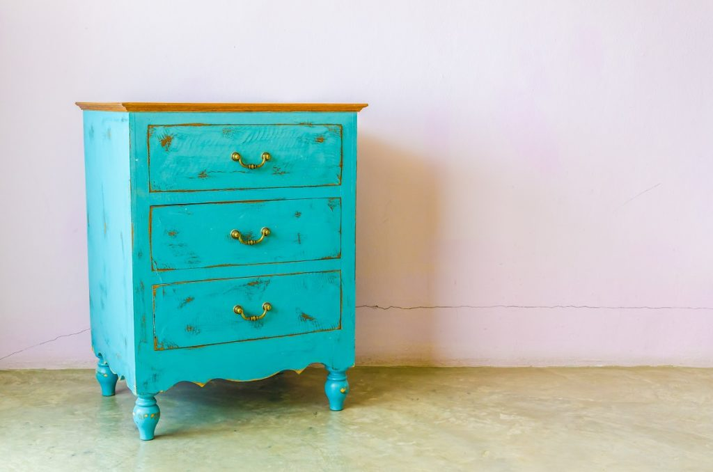 Antique light blue cabinet