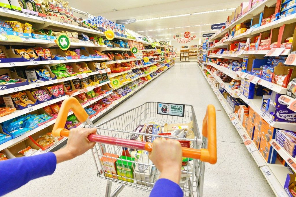 shopping cart and store shelves