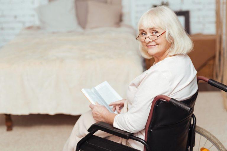retiree sitting on wheelchair