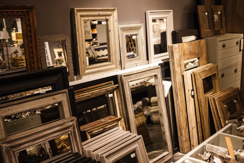 Vontage and old frames made into mirror frames