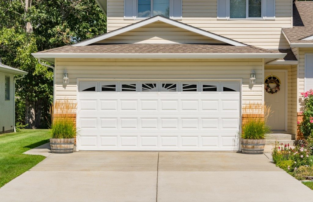 Garage door of a suburban home