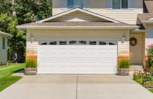 Garage door of a suburban home