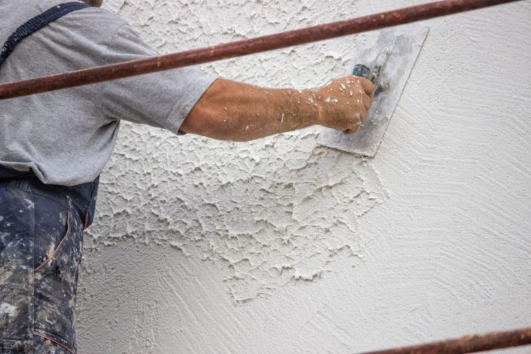 Decorative plaster applied on the surface by a steel trowel.